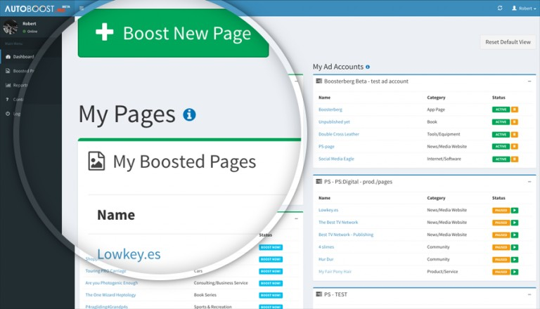 Boosterberg Automated Facebook Post Boosting - Dashboard for overview of boosted pages