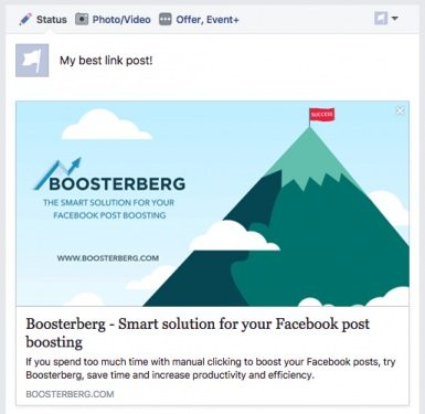 Boosterberg Automated Facebook Post Boosting - Facebook Link Post