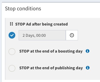 Boosterberg Automated Facebook Post Boosting - Stop After Condition