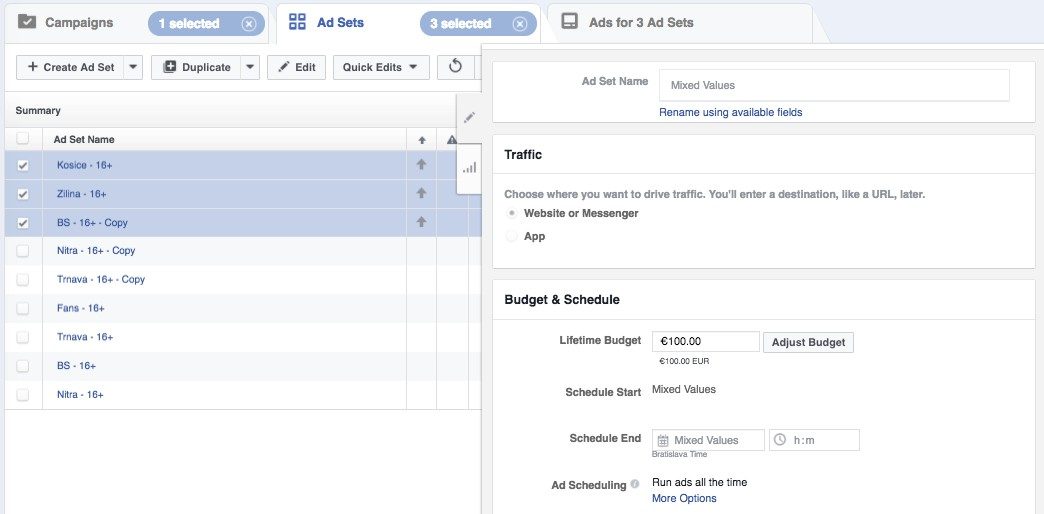 Boosterberg Boost FB posts automatically - Budget adjustments for different Ad sets in Power Editor