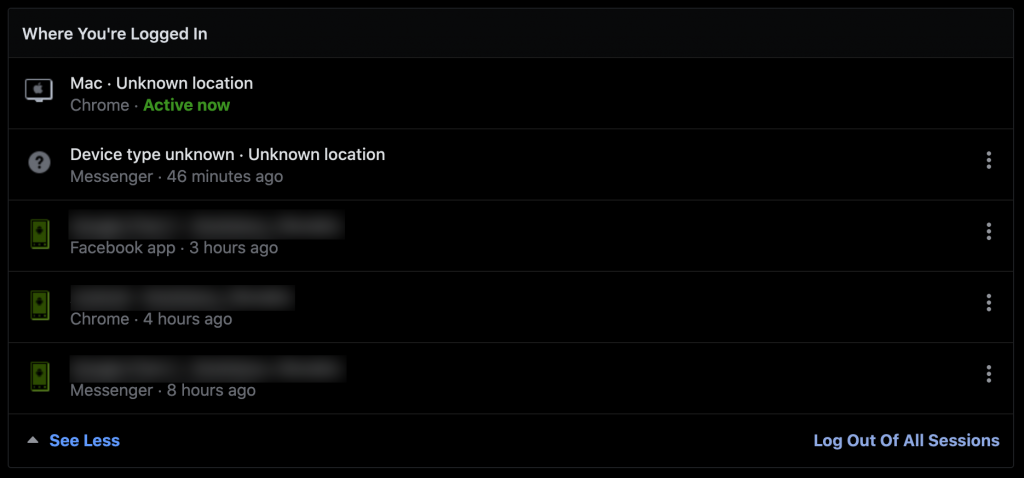 Logout from all sessions will log you out on all devices that your Facebook profiles is logged in to
