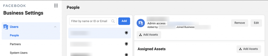 Review all the admin users in your Business Manager